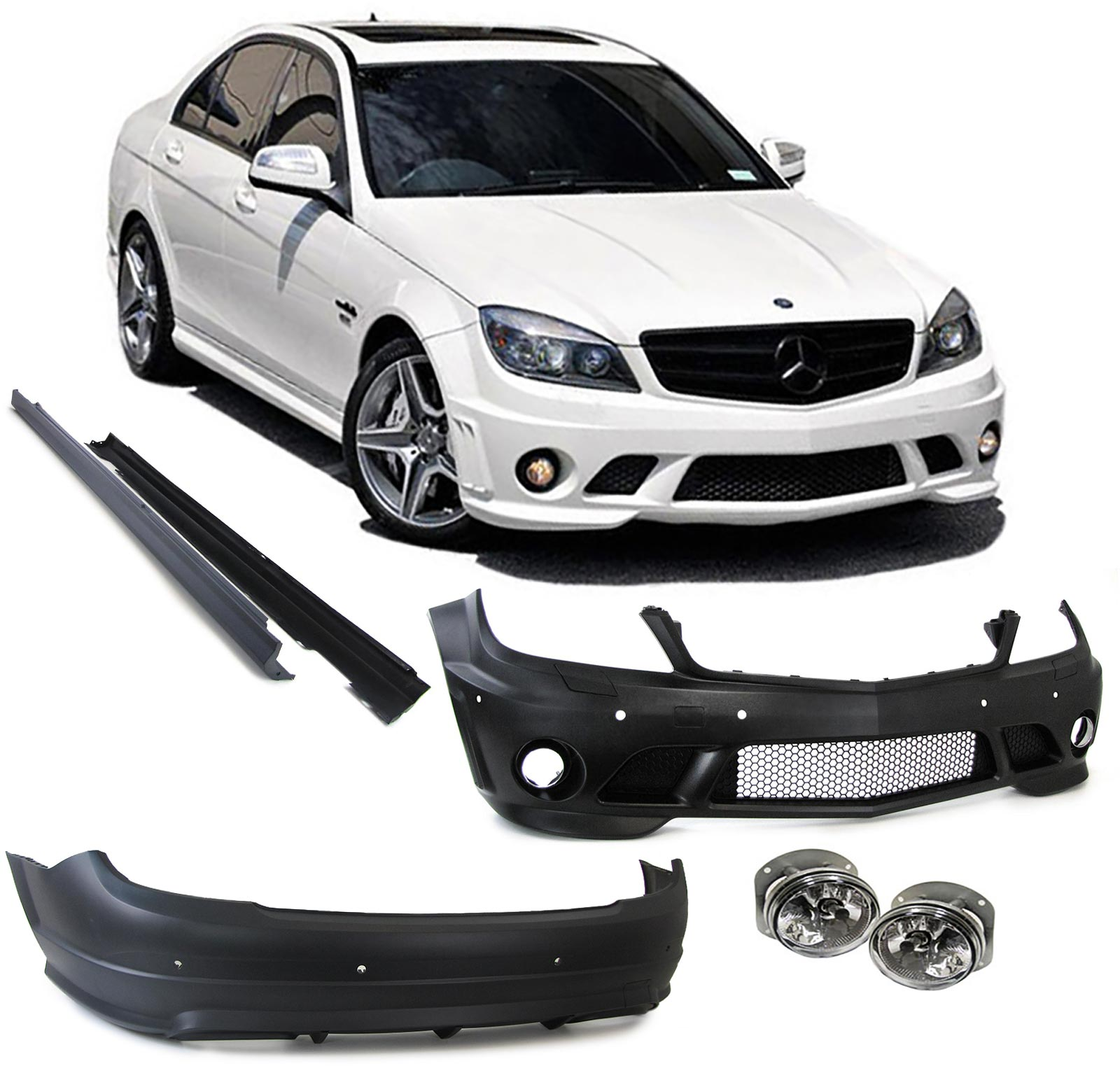 body kit mercedes benz c class w204 c63 amg 2007 2012. Black Bedroom Furniture Sets. Home Design Ideas