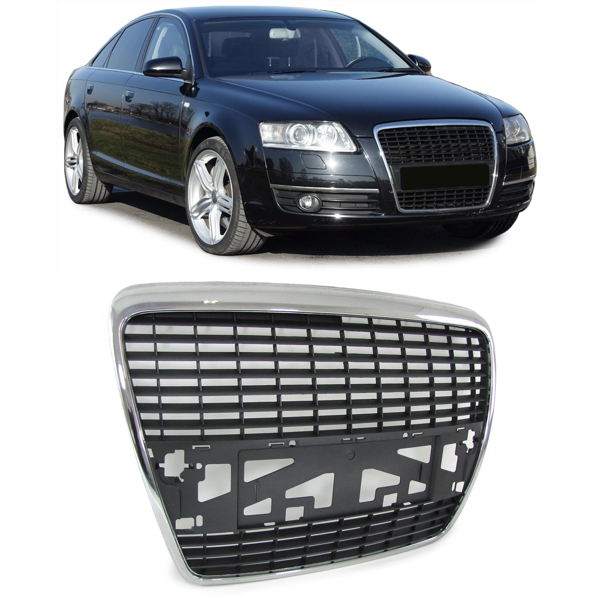 audi a6 c6 4f limo avant 04 11 front grill without emblem. Black Bedroom Furniture Sets. Home Design Ideas