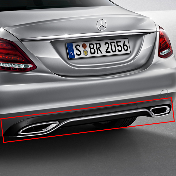 Dual branch exhaust tips C-Class W205 diffuser genuine Mercedes-Benz with  PTS